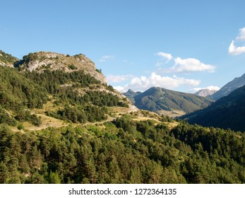 Col de Vars, France: pass road and surrounding mountains