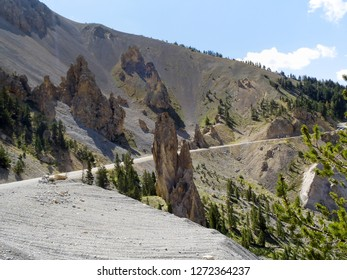 Col d'Izoard, France: pass road and surrounding mountains