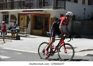 COL DU COLUMBIERE, FRANCE - JUNE 11:  Michael Gogl (AUT) rides his way up the HC climb in stage 8 at the Critérium du Dauphiné on June 11, 2017 on the Col du Columbiere, France.
