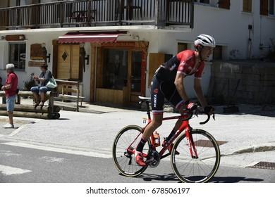 COL DU COLUMBIERE, FRANCE - JUNE 11:  Michael Gogl (AUT) rides his way up the HC climb in stage 8 at the Critérium du Dauphiné on June 11, 2017 on the Col du Columbiere, France.