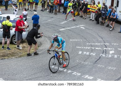 Col du Glandon, France - July 24, 2015: The Italian cyclist Vincenzo Nibali of AstanaTeam,climbing the road to Col du Glandon in Alps, during the stage 19 of Le Tour de France 2015.