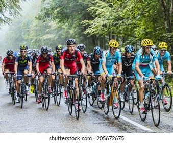 COL DU PLATZERWASEL,FRANCE - JUL 14: Nibali and Porte  ride inside the peloton while climbing the road to mountain pass Platzerwasel in Vosges Mountains, during Le Tour de France on July 14 2014