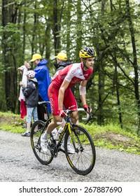 COL DU PLATZERWASEL,FRANCE - JUL 14: The cyclist Rudy Molard of Cofidis Team, climbing the mountain pass Platzerwasel in Vosges Mountains during the stage 10 of Le Tour de France on July 14 2014
