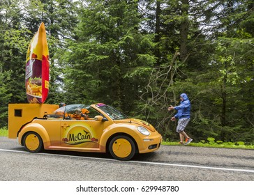 COL DU PLATZERWASEL,FRANCE - JUL 14: McCain vehicle during the passing of the advertising caravan on the road to route to the mountain pass Platzerwasel during Le Tour de France on July 14 2014