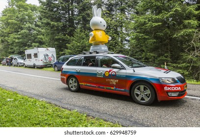 COL DU PLATZERWASEL,FRANCE - JUL 14:Nijntje (Miffy) vehicle during the passing of the advertising caravan on the road to route to the mountain pass Platzerwasel in Le Tour de France on July 14 2014