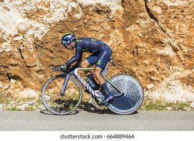 COL DU SERRE DE TOURRE, FRANCE - JUL 15: Nairo Quintana of Movistar Team, riding during an individual time trial stage in Ardeche Gorges on Col du Serre de Tourre during Tour de France 2016.