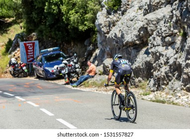 Col du Serre de Tourre,France - July 15,2016: Romain Sicard of Direct Energie Team riding during an individual time trial stage in Ardeche Gorges on Col du Serre de Tourre during Tour de France 2016