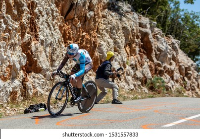Col du Serre de Tourre,France - July 15,2016:Cyril Gautier of AG2R La Mondiale Team riding during an individual time trial stage in Ardeche Gorges on Col du Serre de Tourre during Tour de France 2016