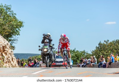 Col du Serre de Tourre,France - July 15,2016: Thomas De Gendt of Lotto-Soudal Team riding during an individual time trial stage in Ardeche Gorges on Col du Serre de Tourre during Tour de France 2016