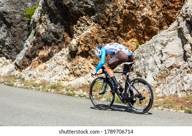 Col du Serre de Tourre,France - July 15,2016: Jan Bakelants of AG2R La Mondiale Team riding during an individual time trial stage in Ardeche Gorges on Col du Serre de Tourre during Tour de France 2016