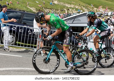 Col du Tourmalet,France-July 27,2018: The Slovak cyclist Peter Sagan in Green Jersey climbing the road to Col du Tourmalet during stage 19 of Tour de France 2018.