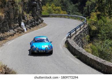Col du Turini, France - 08 30 2020: Vintage racing cars in demonstration in the Col du Turini en Aout 2020 dans le c adre du Tour de France 2020