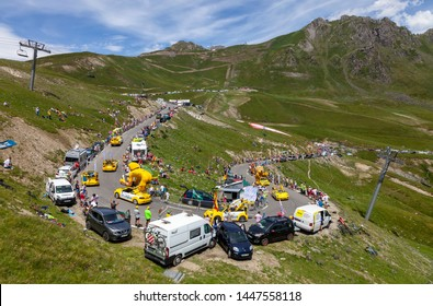 Col du Turmalet, France - July 27, 2018: The Publicity Caravan climbing the road to Col du Tourmalet in Pyrenees during the 19 stage of Tour de France 2018.