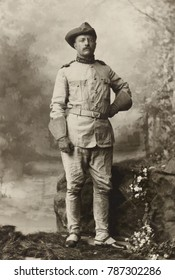 Col. Theodore Roosevelt in uniform of 1st United States Volunteer Cavalry, Oct. 26, 1898. Photo by George Gardner Rockwood. Uniform included a slouch hat, brown trousers, leggings, boots, with handker