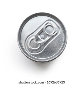 cola can isolated on white background, top view