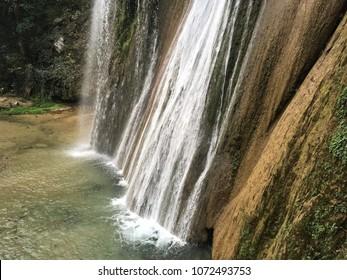 Cola de Caballo waterfall. Cola de Caballo is a waterfall about 40 km from Monterrey, Mexico, in the town of Villa de Santiago, Nuevo Leon.