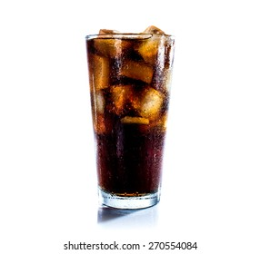 Cola drink  with ice cube on white background