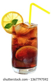 Cola drink with ice cubes and sliced lemon in a highball glass on a white background.