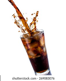 Cola drink splash with ice cube on white background