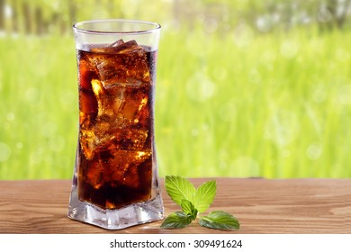 Cola in a glass.