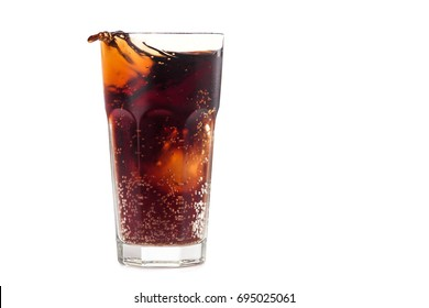 Cola glass with bubble isolated on a white background