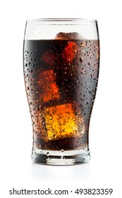 Cola glass with ice cubes and droplets, isolated on white background and with clipping path