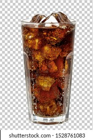 Cola in glass with ice cubes isolated on checkered background including clipping path