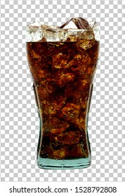 Cola in glass with ice cubes isolated on white background including clipping path