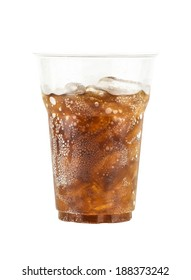 Cola glass with ice cubes isolated on white background