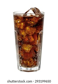 Cola in glass with ice cubes on white background including clipping path