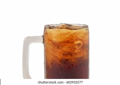 cola glass with ice on white background