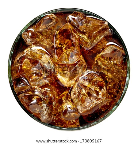 Cola in glass with
