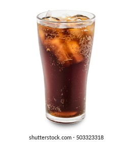 cola in glass isolated with clipping path.