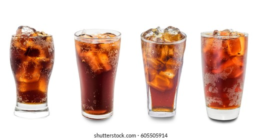 cola in glass isolated on white background.