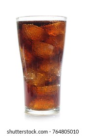 Cola in a glass isolated on white