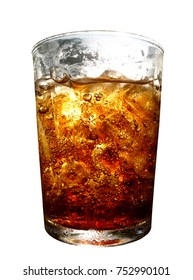 Cola in glass. Soft drink isolated on white background with the clipping path. Selection path.