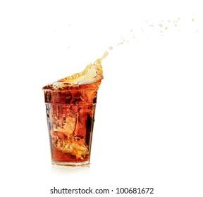 cola glass and cola splashing