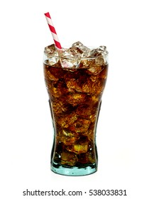 Cola in glass with straw and ice cubes isolated on white background