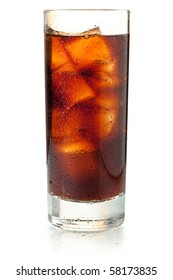 Cola in highball glass. Isolated on white background
