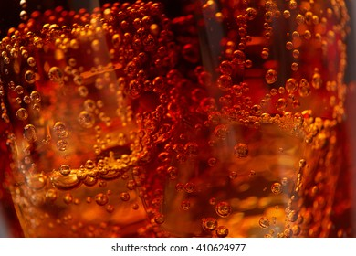 cola with ice closeup