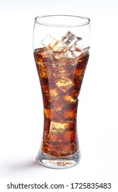 cola with ice cubes on white