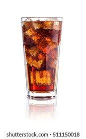 cola with ice in a glass isolated on white background. design element.