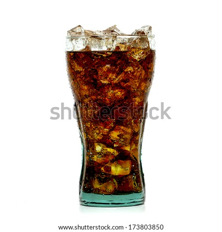 Cola with ice in
