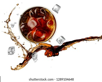 Cola with ice and a glass splash, top view