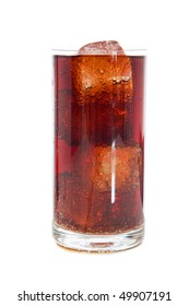cola with ice on white background