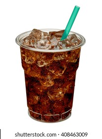 Cola with ice and straw in take away cup isolated on white background including clipping path