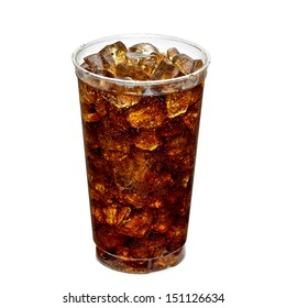 Cola with ice in take away cup isolated on white background
