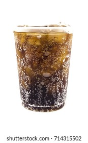Cola plastic glass soft drink with ice on white background.