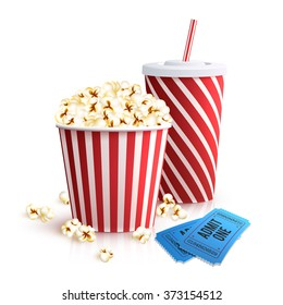 Cola Popcorn And Tickets