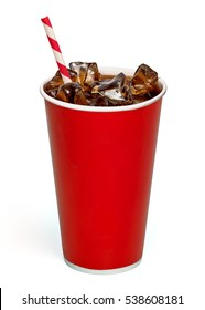 Cola in red blank takeaway cup with straw and ice cubes isolated on white background